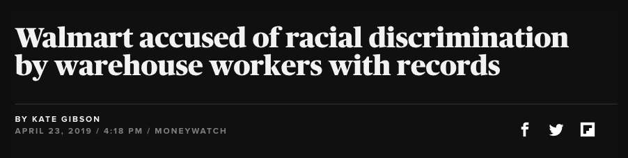 Walmart accused of racial discrimination by warehouse workers with records