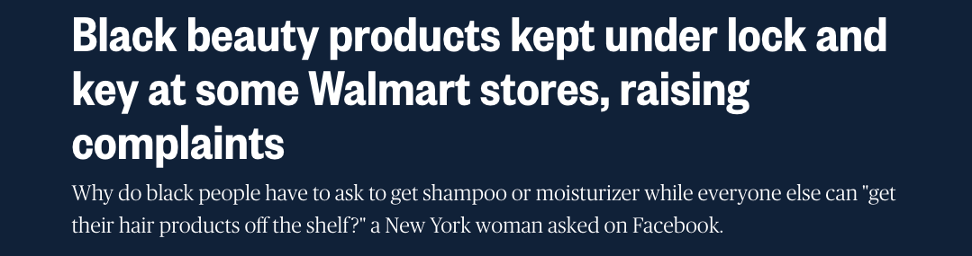 Black beauty products kept under lock and key at some Walmart stores, raising complaints